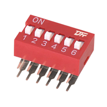 Dip Switch R/A Type 25mA 24VDC Pin spacing 2.54 mm 6-pole in tube packaging